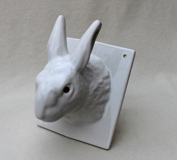 If you've got to have hooks, and let's face it you do, make it a ceramic bunny.(Etsy.com) Perfect for woodland themedsmall's room. Or the bathroom.