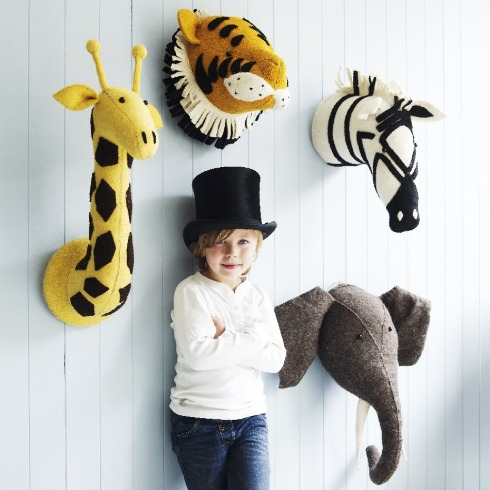Wall art - felt animal heads! If you're looking for an all out menagerie...and somewhere to hang a hat, could do worse.