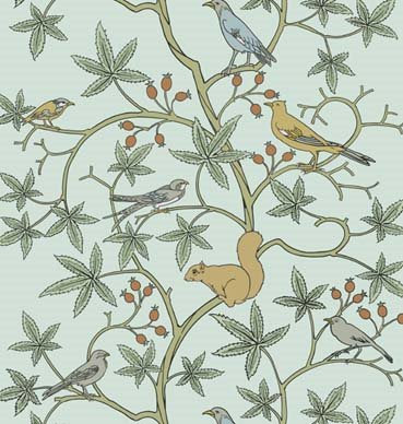 This sweetwallpaperis from 1930's,by Arts and Craft's genius Charles Francis Voysey;an architect, furniture and textiledesigner.For astylishretro classicyou can't go too far wrong. And could last well into her teens.