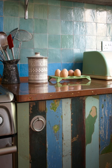 Kitchen Units made from salvaged T & G panelling. London.