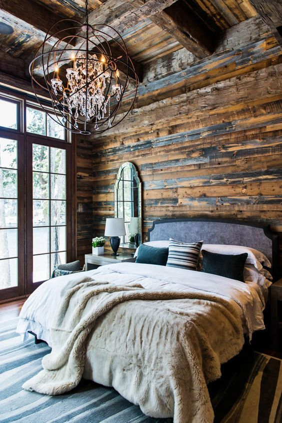 Rustic cabin bedroom, Rockies.