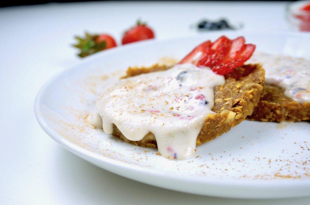 Banana Flax Pancakes with Mixed Berry Cream