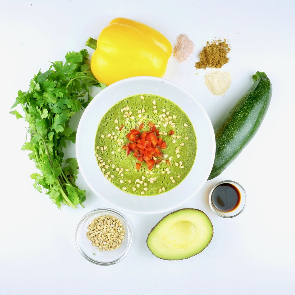 Coriander Soup with Red Peppers & Buckwheat Crunchies