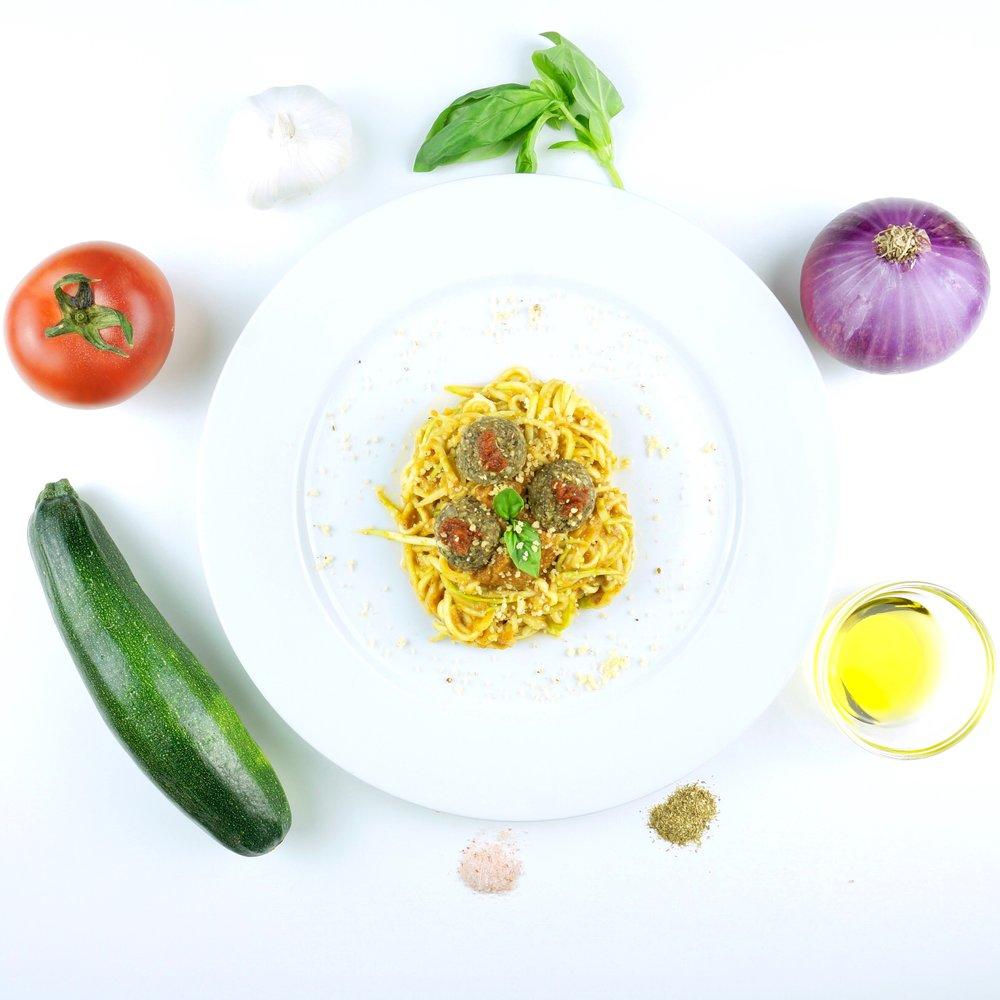 Squashetti with Tomato Marinara Sauce and Neatballs
