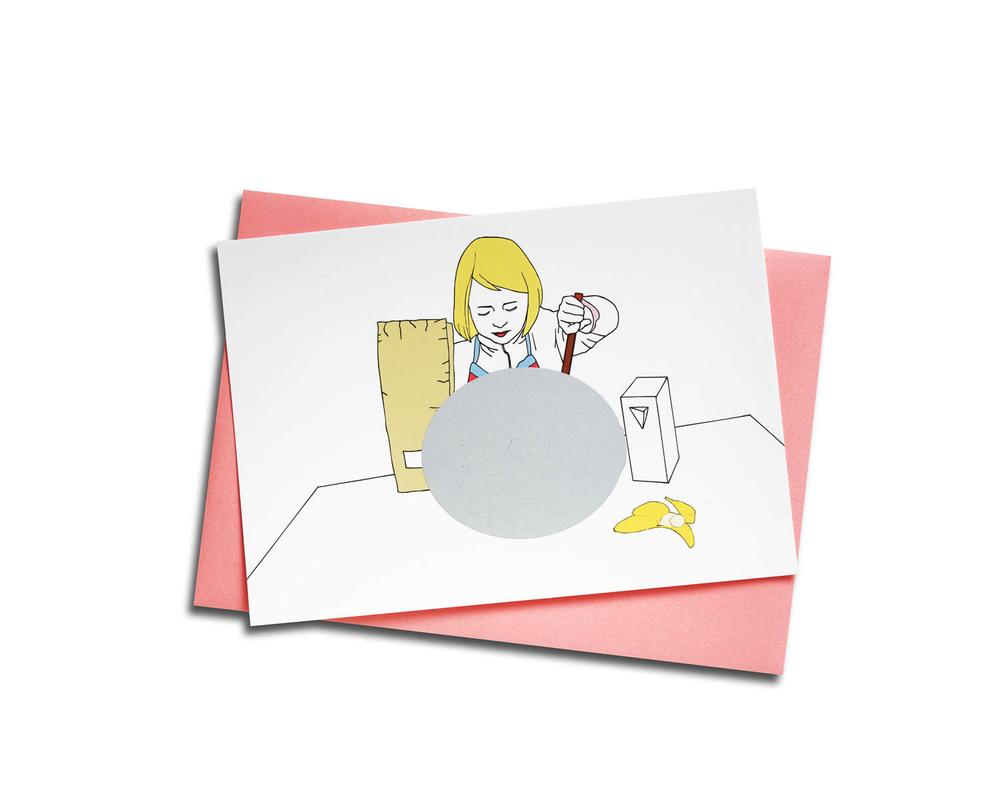 Carte postale - Cuisine improvisée