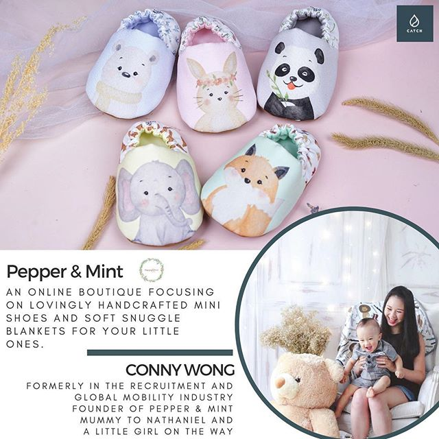 """Happy Friday #catchfamily! We're excited to introduce our next CATCH #sheboss! ... ✨ CONNY Wong ✨ ▫️ Formerly in the Recruitment and Global Mobility Industry, ▫️ Founder of @pepperandmintboutique, ▫️ Mummy to Nathaniel and a little girl on the way! ... HANDMADE. EMPOWERING PARENTS and CRAFTERS. ETHICALLY SOURCED. NATURAL MATERIALS. ... Conny is one of CATCH community's sweetest mums. Conny's dream was to own a small business; so when she was searching for unique handmade items for her son 👶🏽 when he was born last year, she became inspired to start @pepperandmintboutique - a carefully crafted baby gifts company that specialises in baby shoes and soft snuggle blankets. ... Conny works with home based crafters, who are mostly stay-at-home mothers and fathers in Indonesia (where she was born before moving to Australia)! 👏🏼 ... We love Pepper & Mint because the company aims to empower ⛅️💪🏽 stay-at-home parents, and donates a portion of their sale proceeds to Volunteer for the Visayans (VFV). ... VFV is a non-profit based in Tacloban, Philippines focusing on child welfare (www.visayans.org). ... In 2015, Conny took time off her previous career in global mobility to work in an orphanage in Tacloban, organised through VFV, and this had a profound impact on her, so she wanted to further contribute in making a difference in the lives of the children in Tacloban through her company 👏🏼👏🏼👏🏼 ... More reasons to support Pepper & Mint? All their materials are ethically sourced, and they use as much natural materials as they can by working with suppliers that minimise waste - they even use recyclable packaging for all their products! ♻️ .... ❗️Why wait now? Use the code """"WELOVECATCH"""" to get 10% off your next order - just in time for Christmas – valid for orders until Nov 30 2018! ... Don't miss out and head on over to their website https://www.pepperandmintboutique.com and IG @pepperandmintboutique! ... 🤰🏽Conny is ready to welcome her little girl very soon - we wish her all the best"""