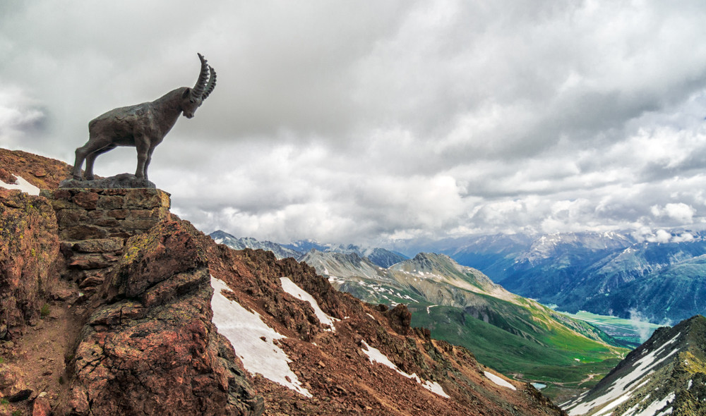 This statue graces the peaks found high above the famed resort of St. Mortiz in Switzerland.  He has a great view into the alpine valley below.