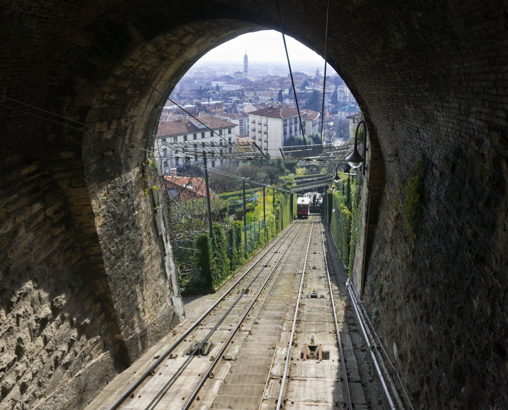 "This was taken from the funicular on the way from Bergamo's low city to the ancient walled ""citta di alta"" up above."