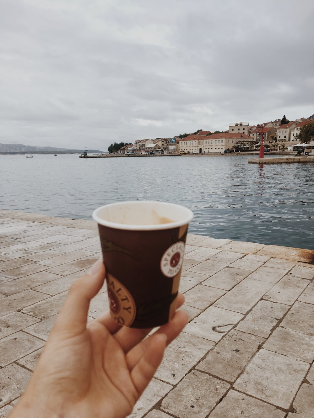 A morning coffee before our ferry from Bol to Korucla. -