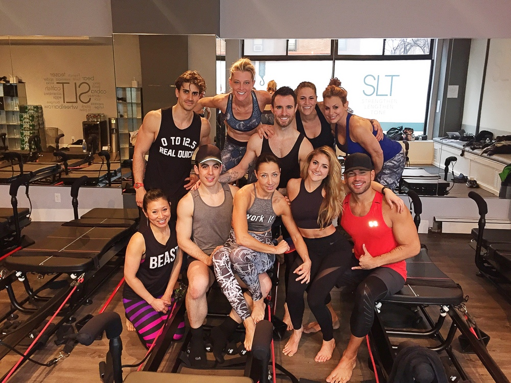 7 studios represented in this picture! L to R: Bottom row: Tina Tang, private instructor, Patrick McGrath, SLT, Shiri BenYishai, Alex Silver-Fagan, City Row & Solace, Keoni Hudoba, CYC Fitness. Top row: Niv Zinder, Barry's Bootcamp, Seth Maynard, Shadowbox & Swerve, Dr. Kimberley Caspare, PHlex NYC, Natalie Raitano, Barry's Bootcamp.
