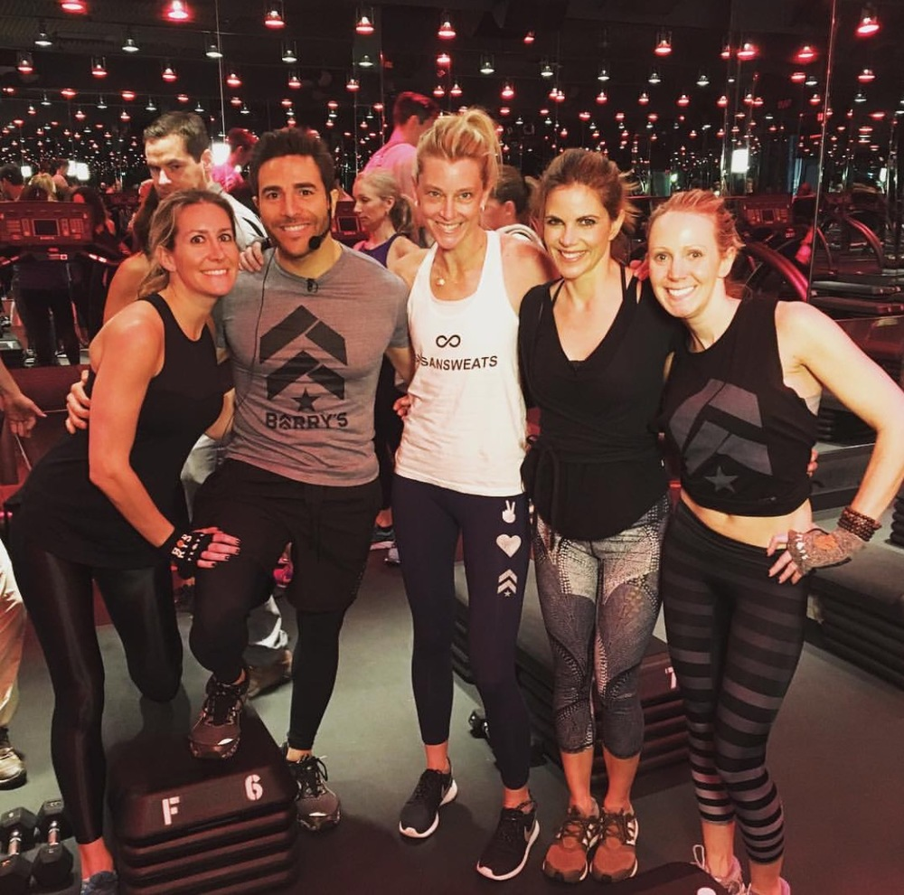 Leading by example: Joey Gonzalez, CEO of Barry's Bootcamp, with L to R: Kate Portland, Natalie Morales (The Today Show), and Cindy Gelber