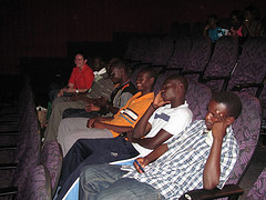 Lubuto Fountain of Hope Volunteers enjoy a movie