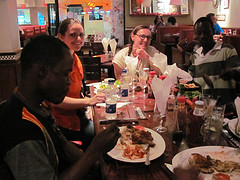 Lubuto Fountain of Hope Volunteers enjoy some pizza