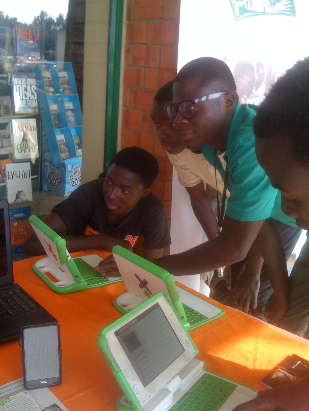 Lubuto Library Project outreach with OLPC laptops during Zambia Literacy Week.