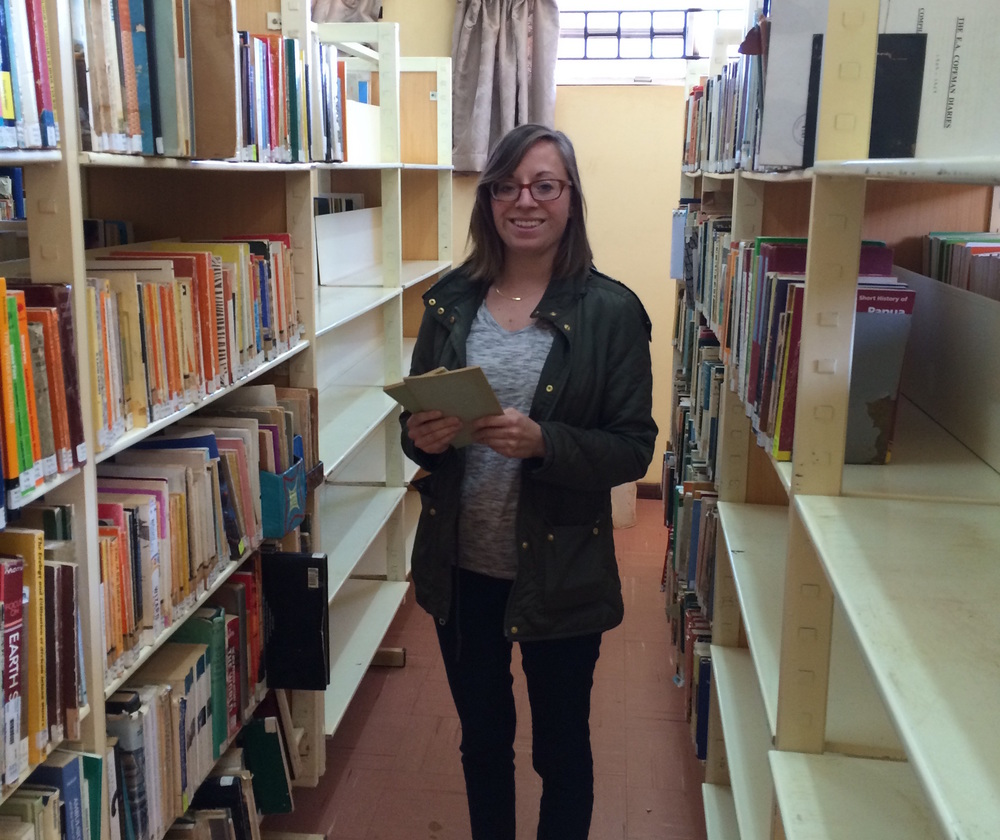 Volunteer Emily Purcell doing research for Lubuto Collections