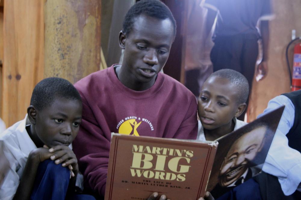 Jackson reads Martin's Big Words aloud