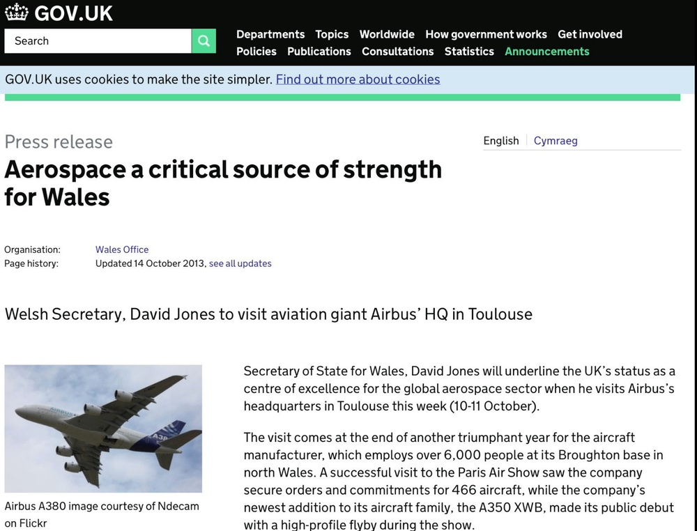 Published: 14 October 2013  http://https://www.gov.uk/government/news/aerospace-a-critical-source-of-strength-for-wales