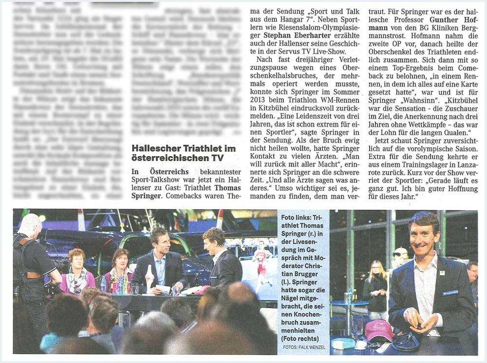 Beitrag in der Mitteldeutschen Zeitung vom 05.02.2015