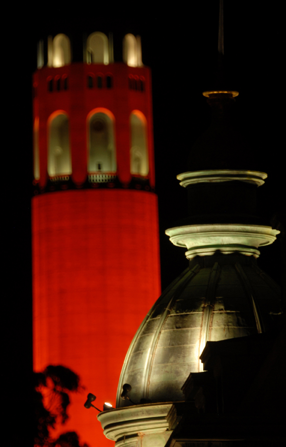 Places - Sentinel Building Dome and Orange Coit Tower.JPG