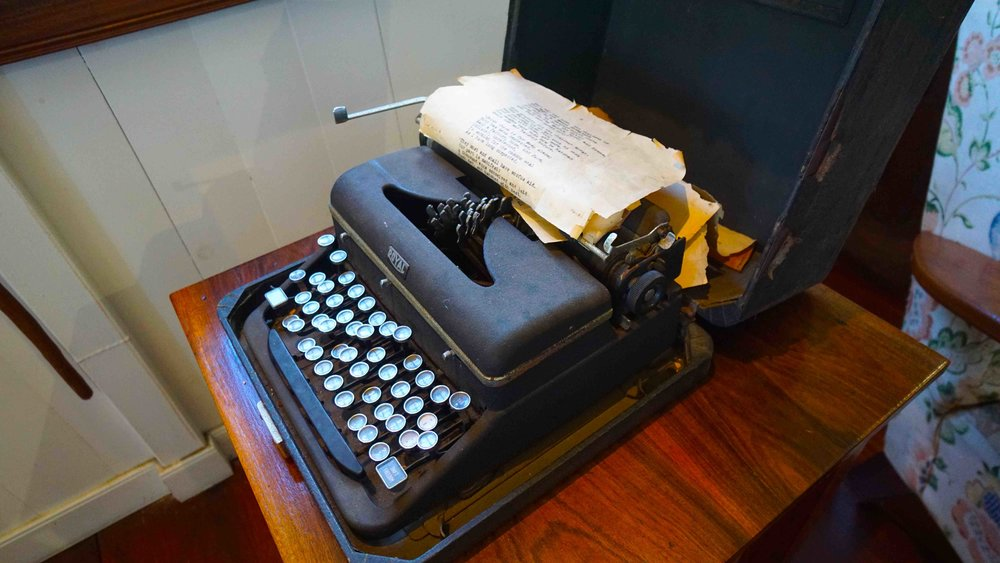 Tahiti James Norman Hall House Royal typewriter with tattered pages