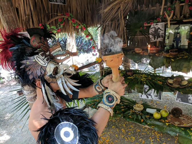 Shamans chant Mayan prayers to the deceased that rise to the heavens encased in the sweet-scented smoke of copal.