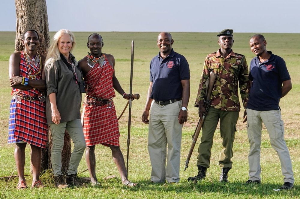 A stroll on the Maasai Mara involves an entire entourage of trackers, guides, and an armed ranger.