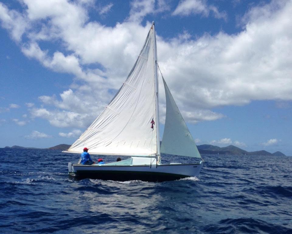 A traditional Virgin Islands sloop under sail