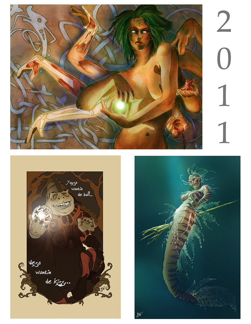 Top: mixed media piece based off an old card from MTG. Bottom left: digital piece for fun of the Princess and The Frog with a Star Wars twist. Bottom right: a digital piece I did for an online challenge (I actually still kinda like this one).