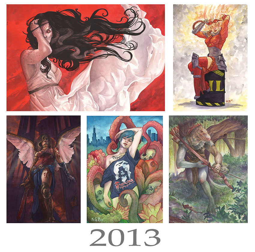Top left: Avarice, a watercolor piece based off the seven deadly sins. Top right: a watercolor pin up of Chandra from MTG. Bottom left: variant comic cover I did for a small press comic. Bottom center: mock cover for the web comic I worked on. Bottom right: a character piece in watercolor I did as a private commission.