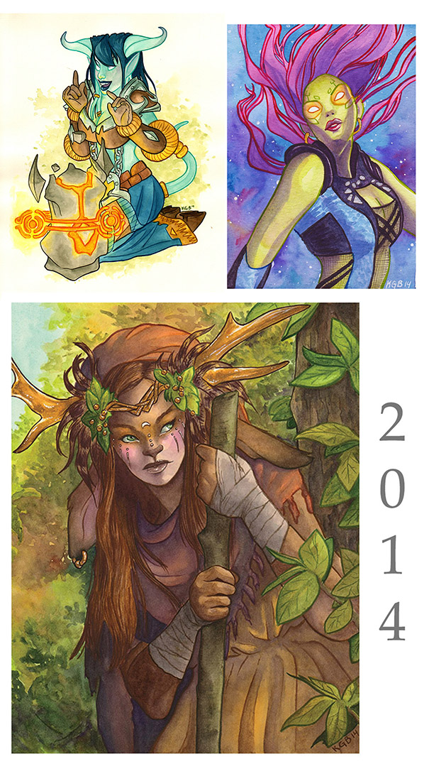 Top left: watercolor draeni pin up from WoW. Top right: Gamora watercolor piece convention commission. Bottom: watercolor piece for my personal portfilio
