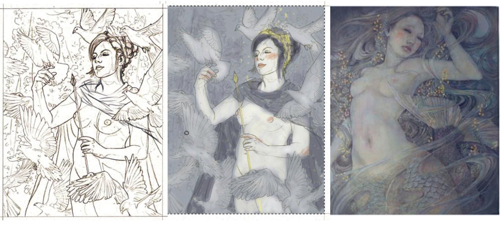 A process of working on colors, using a less clean version of the final drawing. The center is the color comp created in class by Rebecca, and the far right is of a piece by Miho Hirano, which I am using as a guide for both tone and color (but mostly tone)