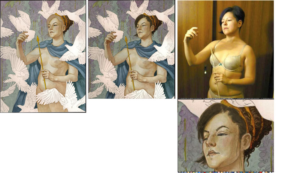 A look as I flesh out the painting, making sure to work with my reference as well as the color study provided by Rebecca. Also notice the scan of the work isn't the same as the previous pictures via my phone camera. Neither was similar to the actual painting. Just another art problem.