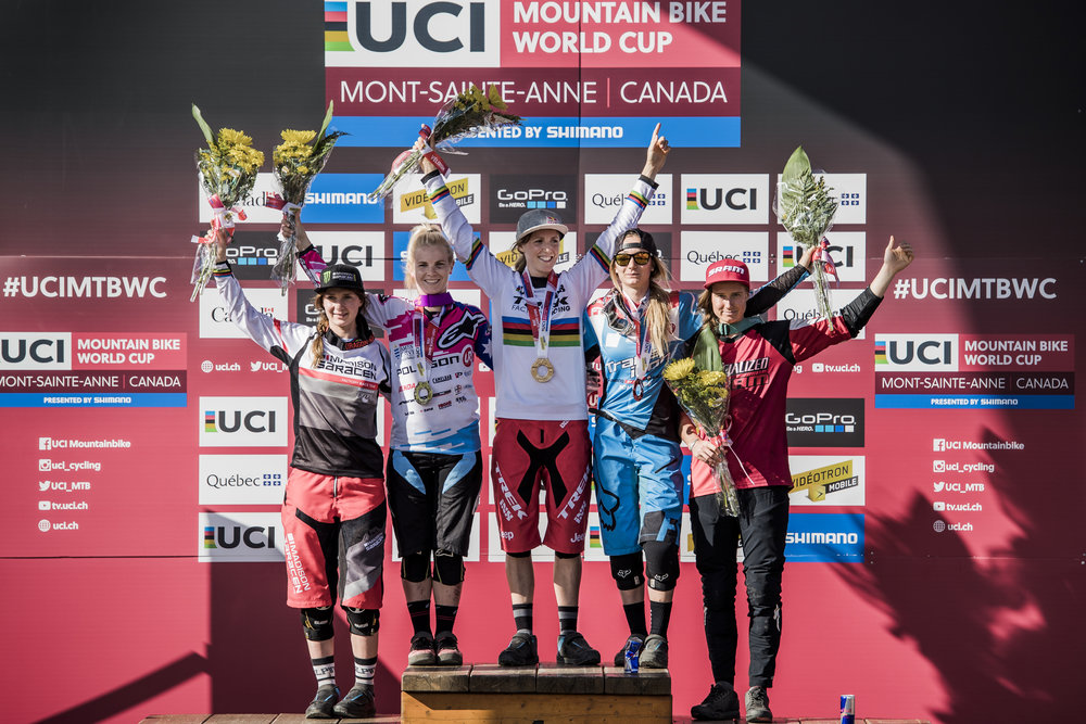 Tahnee on the podium with Rachel Atherton