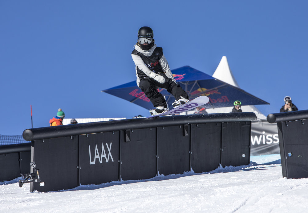 Jamie Anderson at the recent Laax Open Snowboard competition in Switzerland