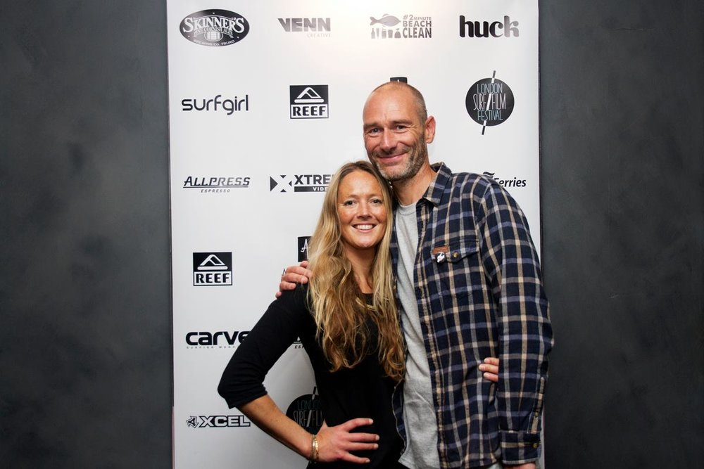 Demi with partner and London Surf Film Festival Co-Founder Chris Nelson