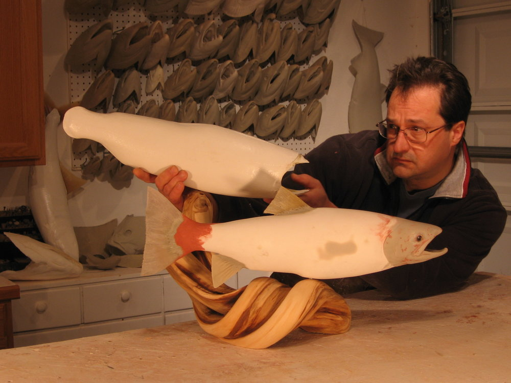 Luke Filmer of Blackwater Fish Replicas creating custom rainbow trout replica mount.jpg