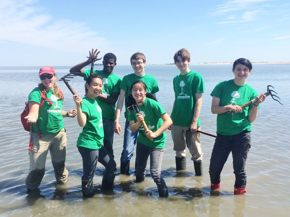 Green Team 2015 Crewmembers learn about shell fish propagation in Plymouth Harbor