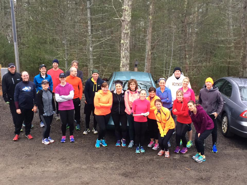 Trailrunners gather at Davis-Douglas Farm on a chilly Saturday morning in January.