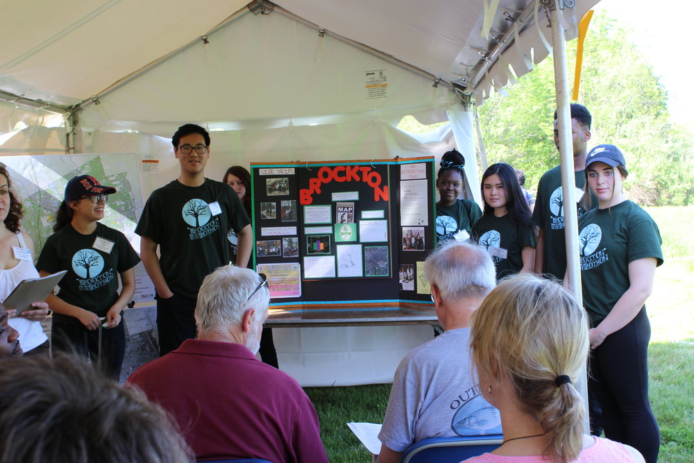 The Brockton team presents their Current Issue Research to a panel of judges, taking 3rd place in this category at the 2017 Massachusetts Envirothon Competition.