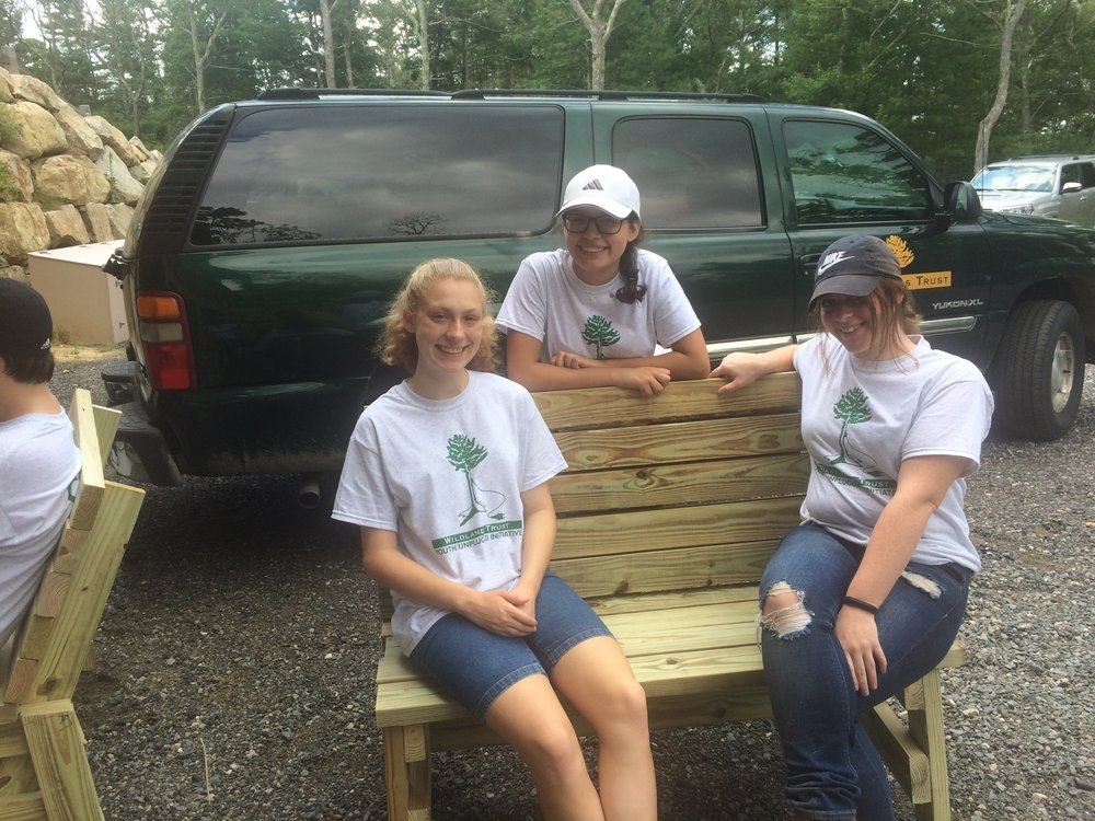 Day One: Bench building in the Wildlands workshop and Geocaching at Emery Preserve, Plymouth