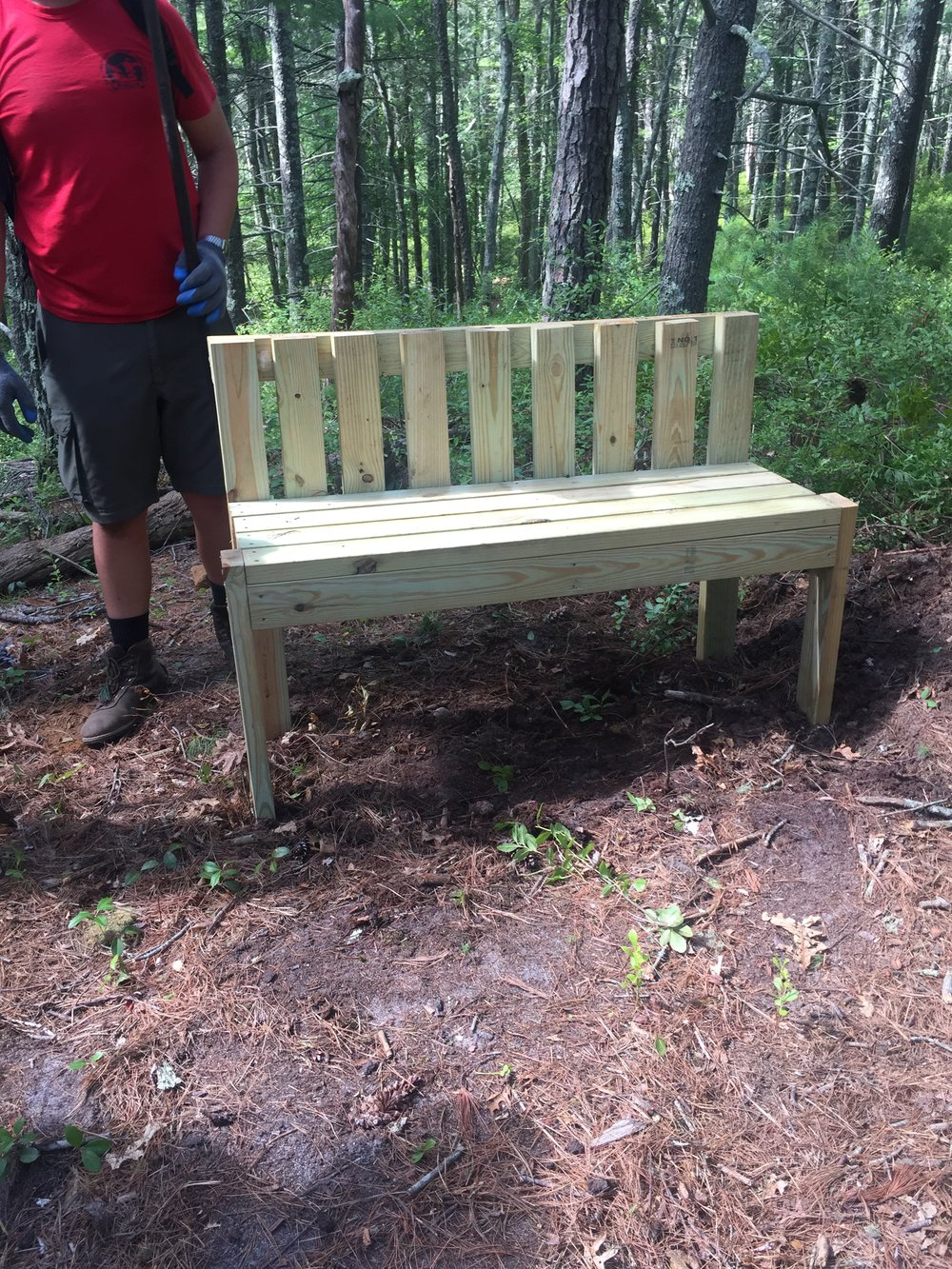 One of the four benches recently built by Plymouth Troop 1620.