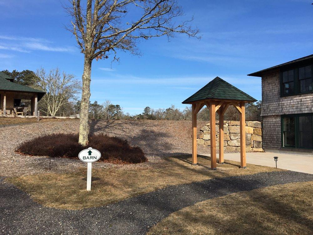 The Davis-Douglas Farm kiosk, mid-construction.