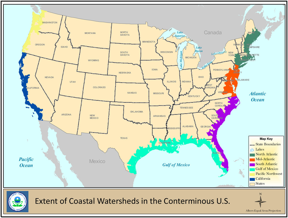 EPA map displaying coastal wetlands and how far inland they extend (click to enlarge).