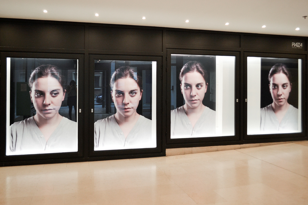 Pauline Miko.  Olivia. Portrait of a woman in four sequences  (installation view) Photography Pauline Miko