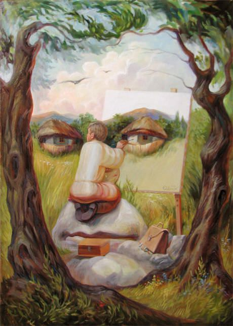 """Self-Portrait Under the Lime Trees"""