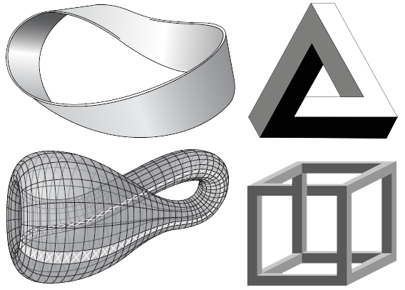 Mobius strip and Klein bottle (left) Penrose triangle and cube (right)