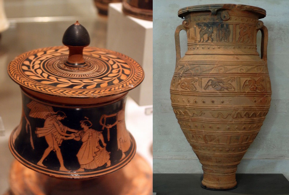 An ancient Greek box on the left (pyxis) and an ancient Greek jar on the right (pithos). Translation inaccuracy of the famous myth caused the confusion between the two.
