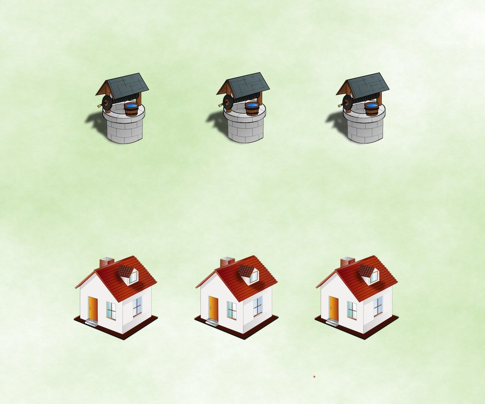 Houses and Wells Connect Puzzle