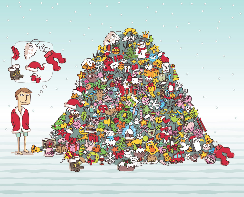 Can you find all the Santa items in the pile?  Artist: Vook