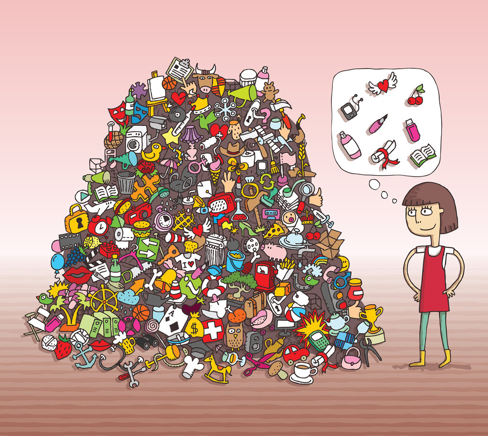 Can you find all of the girl's items in the pile?  Artist: Vook